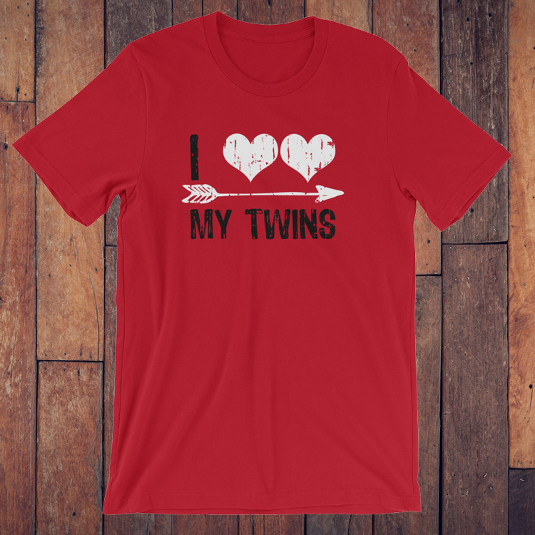 i heart my twins valentines day t shirt - Valentines Day T Shirts